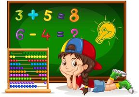 Girl counting numbers on board vector