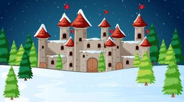 Castello in scena di neve