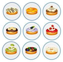Different flavors of donuts vector