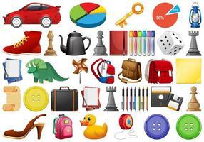 Stor uppsättning olika objekt