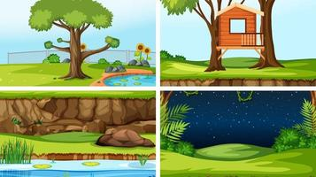 Set of different outdoors scenes