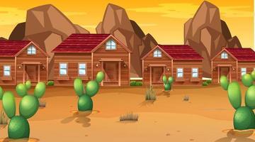 Pueblo en la escena del desierto