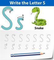 Feuilles de calcul de l'alphabet de traçage de la lettre S