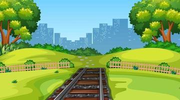 Nature scene landscape with city train tracks