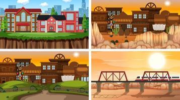 Conjunto de escenas en la naturaleza con edificios