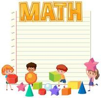 Math template with kids vector