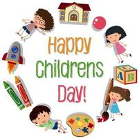 Happy children day logo vector