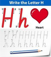 Letter H tracing alphabet worksheets vector