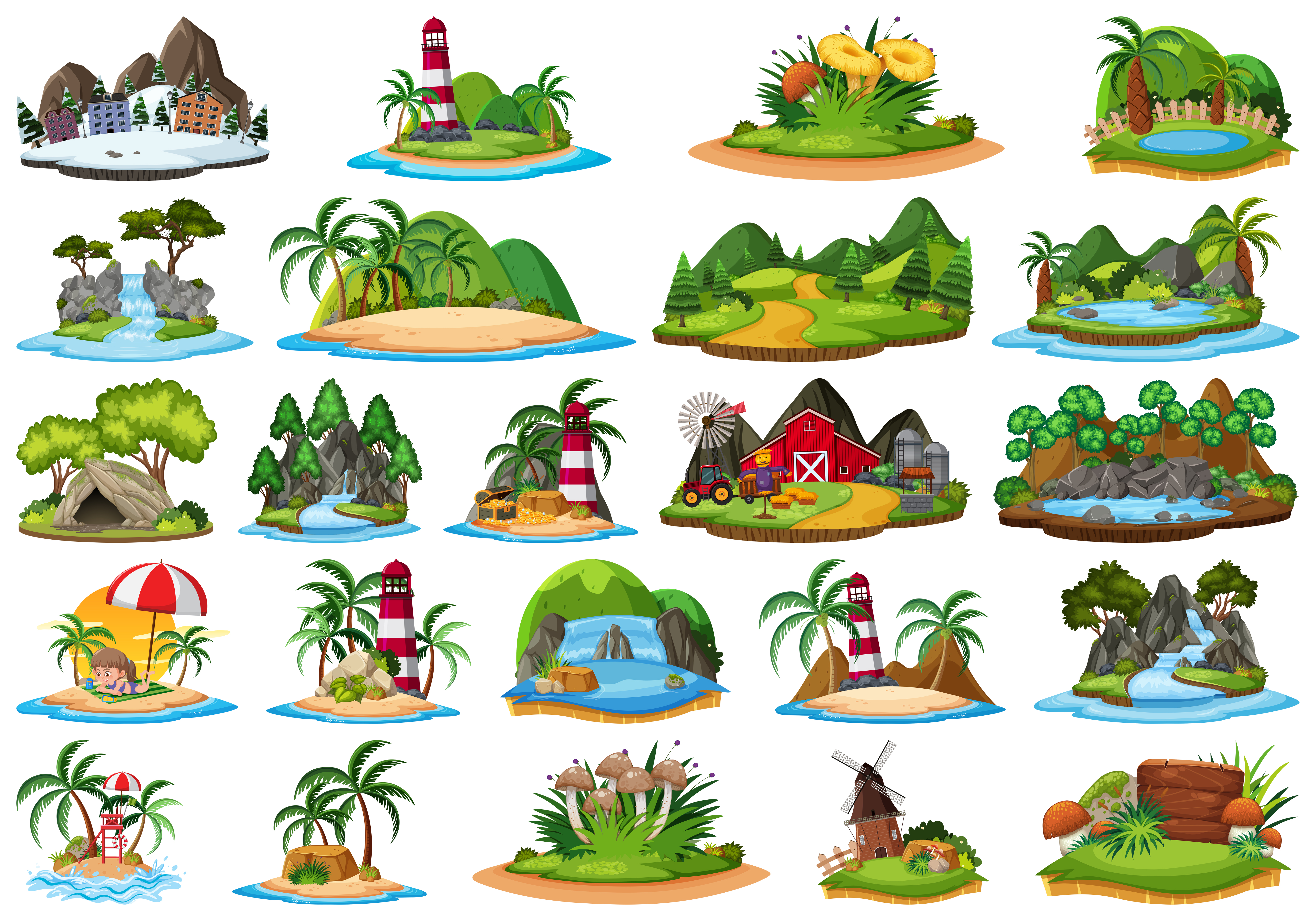 Set Of Different Plants And Landscapes Download Free Vectors