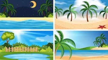 Un conjunto de escena de playa que incluye agua vector