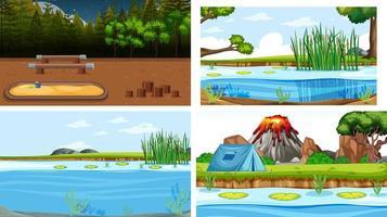 Conjunto de escenas en la naturaleza con camping