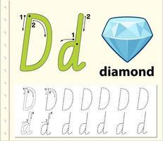 Arbeitsblätter für Buchstaben-D-Tracing-Alphabete