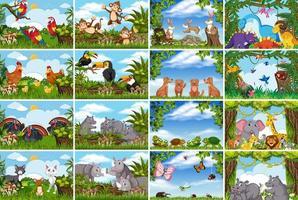 escenas de la naturaleza con animales vector