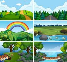 Set of nature scenes with water vector