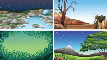 Conjunto de cenas na natureza com água e montanha