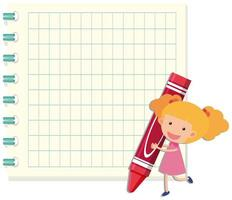 Girl holding crayon notebook template vector