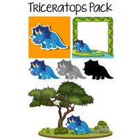 Triceratops sticker packs set