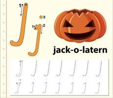 Letter J tracing alphabet worksheets vector