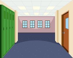 School hallway interior scene vector