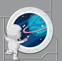 An astronaut looking out of space window