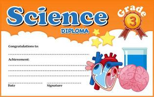 Plantilla de certificado de diploma de ciencias