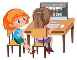 Girl learning math on computer vector