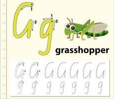 Feuilles de calcul de l'alphabet traçant la lettre G