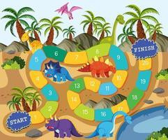 Una plantilla de juego de mesa de dinosaurios vector