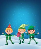 Elf holding gift on snow background vector