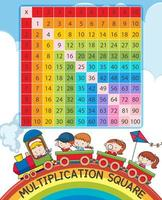Cuadrado de multiplicación con arcoiris y niños en tren