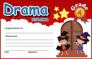 Drama Diplom Zertifikatvorlage vektor