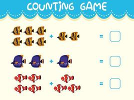 Math counting game template vector