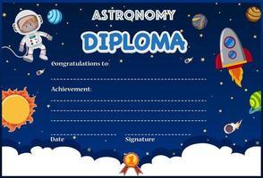 Una plantilla de diploma de astronomía
