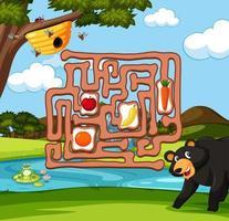 Oso encontrando juego de laberinto de abejas