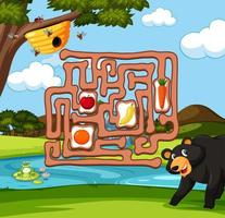 Bear finding bee maze game