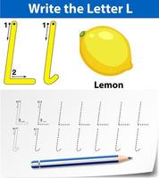 Letter L tracing alphabet worksheets vector