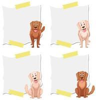 Conjunto de perro en plantilla de nota vector