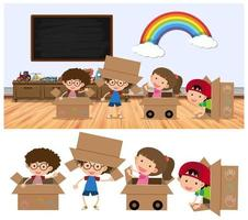 Kids playing in boxes on white