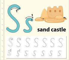 Escreva a letra s castelo de areia