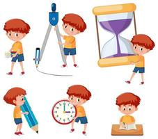Boys with math tools vector