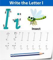 Carta I trazado de hojas de cálculo del alfabeto vector