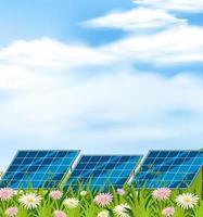 Panel solar en campo vector