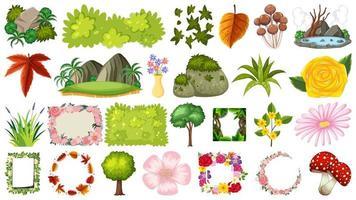 Conjunto de plantas y flores