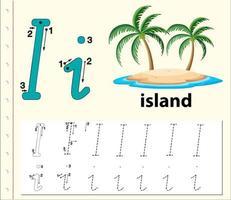Feuilles de calcul de l'alphabet traçant la lettre I