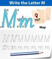 Hojas de trabajo del alfabeto de trazado de la letra M vector