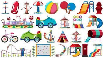 Conjunto de equipamentos de playground e carnaval