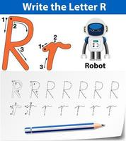 Letter R tracing worksheets vector