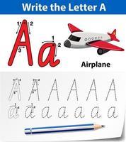 Feuilles de calcul de l'alphabet de traçage de la lettre A