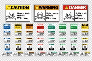 Set Highly Toxic Handle With Care Signs