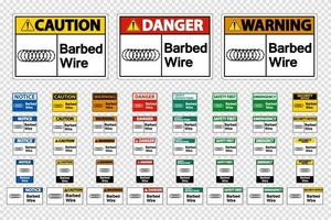 Barbed Wire Signs on transparent background